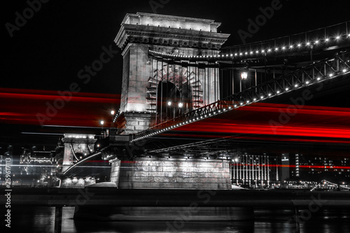 The Hungarian Chain-Bridge with the lights of the cars