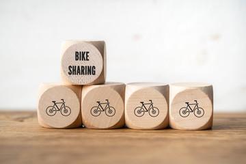 Bike-Sharing Symbole auf Würfeln