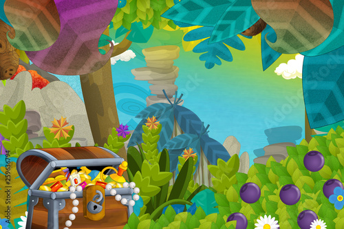 cartoon scene with treasure in the jungle - illustration for children - 259636794