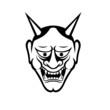 Japanese demon mask. flat vector