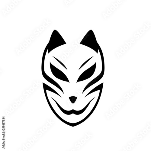 Japanese mask fox. Isolated vector art.