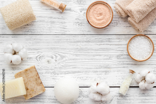 canvas print picture Organic cosmetics and eco materials for homemade spa on white wooden background top view mock up