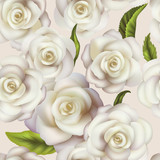 Seamless floral texture with realistic white roses and green leaves on light background, vector with Clipping Path and Gradient Mesh. The pattern is not added in Swatches Palette.