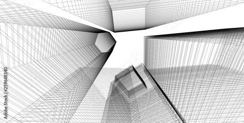 architecture abstract, 3d illustration - 259648340