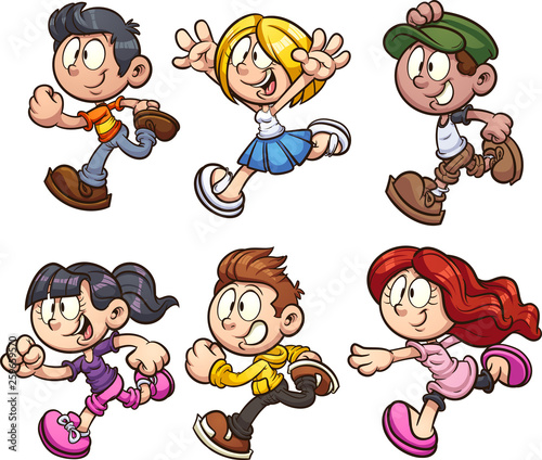 Cartoon kids running clip art. Vector illustration with simple gradients. Each on a separate layer.  - 259659570