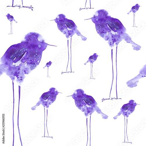 Watercolor illustration of abstract bird drops on long legs, childish. Printing, design elements. Isolated on white background.Seamless pattern © Marina