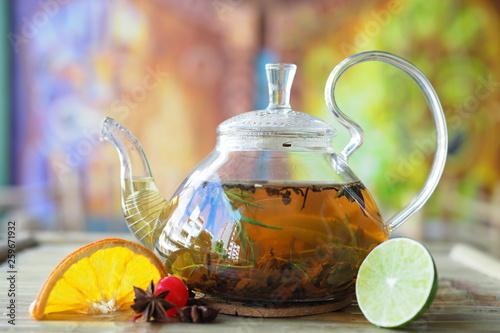 cup of tea with teapot and cup of tea © Bohdan