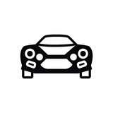Black solid icon for  sports car