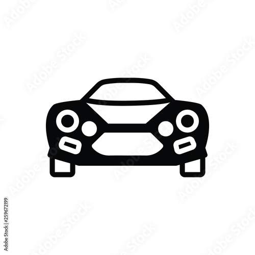 Black solid icon for  sports car  - 259672199