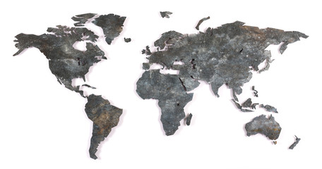 Roughly outlined world map - Metal