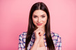 Leinwanddruck Bild - Close up photo amazing beautiful her she lady brown eyes look trick long straight hair wondered hand arm chin wear casual checkered plaid shirt clothes outfit isolated pink bright background