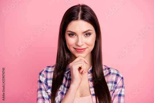 Leinwanddruck Bild Close up photo amazing beautiful her she lady brown eyes look trick long straight hair wondered hand arm chin wear casual checkered plaid shirt clothes outfit isolated pink bright background