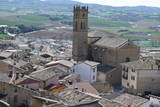 The church and the village of Artajona Spain