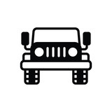 Black solid icon for jeep automobile