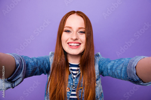 Leinwandbild Motiv Self-portrait of her she nice attractive charming cute winsome lovely cheerful cheery straight-haired lady youngster isolated over bright vivid shine violet background
