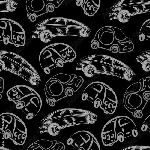 Black and white kids seamless pattern with hand drawn brush linear cars. Monochrome endless baby texture with self driving cars for pajamas, fabric, wrapping paper.  illustration © Maryia