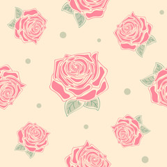 Floral seamless pattern with red roses. Colorful background with flower bloom, summer theme. Vector holiday illustration, pastel texture. © ethno4ka