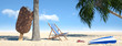 Leinwandbild Motiv Strand mit Liegestuhl und Eis am Stiel
