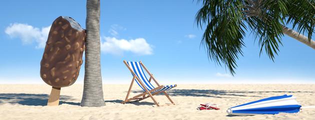 Strand mit Liegestuhl und Eis am Stiel