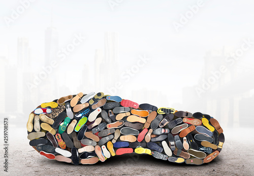 canvas print picture Big sneaker made up of different sneakers