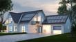Haus mit Beleuchtung abends vor Himmel