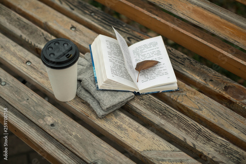 a book and a glass of coffee in the park on a bench © yuliasverdlova