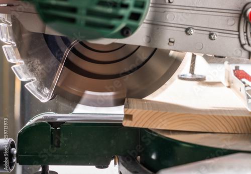 Leinwandbild Motiv  Modern electric circular saw in the workshop