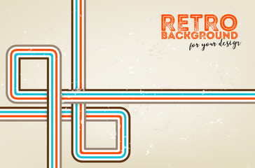 Abstract grungy background with retro stripe ornament