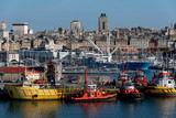 panoramic view of the port of genoa