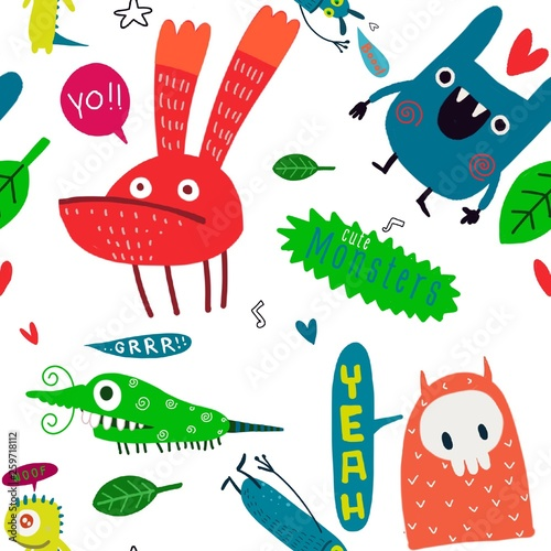 fototapeta na ścianę Seamless childish pattern with cute monster and hand drawn shapes. Creative kids texture for fabric, wrapping, textile, wallpaper, apparel. Vector illustration