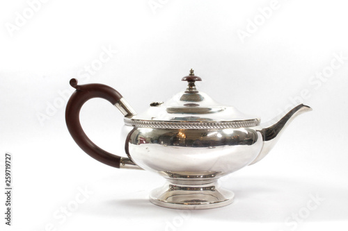 Vintage Metal Ornate Tea Pot on White Background © shellystill