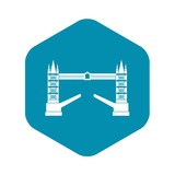 Tower bridge icon in simple style isolated on white background. Construction symbol