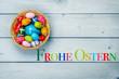 Leinwanddruck Bild - Frohe Ostern, Osterkörbchen, bunte Eier