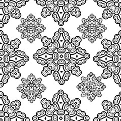 Beautiful retro, vintage, oriental black and white romantic seamless pattern vector