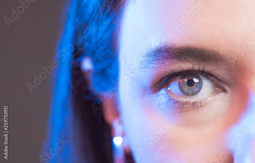 canvas print picture Close-up of woman's blue eye