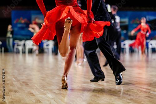fototapeta na ścianę feet of dancers man and woman dancing latin program