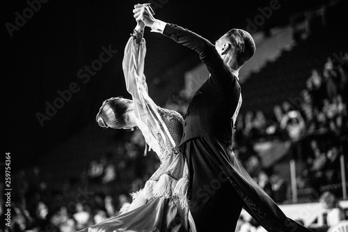 couple of dancers man and woman dancing black-and-white photo - 259754364