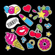 Fashion patch badges with lips and make up elements pop art - 259762559