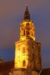 canvas print picture - Kirchturm der kilianskirche in Heilbronn am Abend beleuchtet