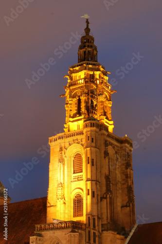 canvas print picture Kirchturm der kilianskirche in Heilbronn am Abend beleuchtet