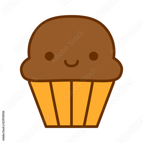 Cartoon Cute Muffin Icon Isolated On White Background - 259769316