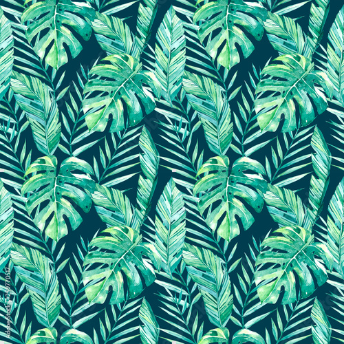 watercolor hand painted seamless pattern tropical leaves an dark background © Anna