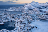 Aerial view of Svolvaer city the small harbour of Norwegian in winter season, Norway