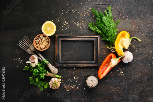 Background for the menu of dishes. Top view. Free space for your text. Rustic style.