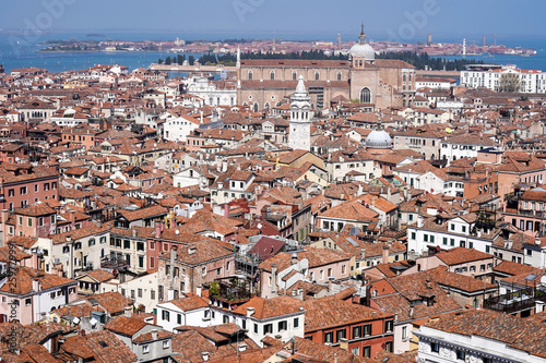 Aerial view of Venice, Murano in the background