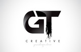 GT Letter Design with Brush Stroke and Modern 3D Look.