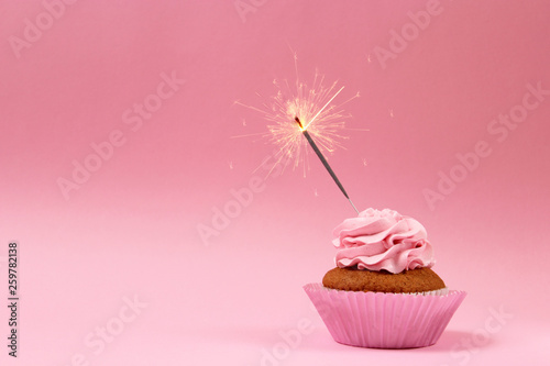 cupcake with sparkler on a colored background. Background for the holiday, birthday - 259782138