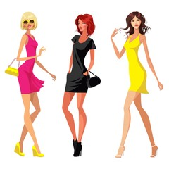 three women in dresses. vector illustration on white background