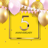 Template 5 Years Anniversary Background with Balloons Vector Illustration