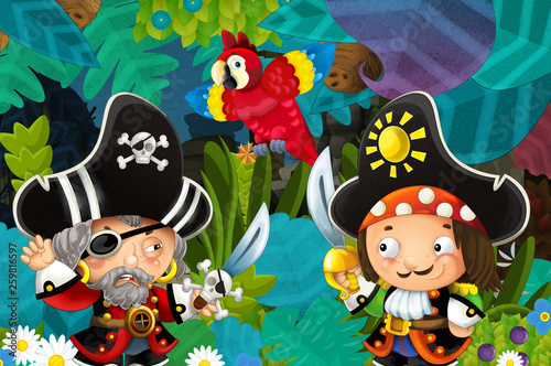 cartoon scene with pirates fighting in the jungle - duel - illustration for children - 259816597